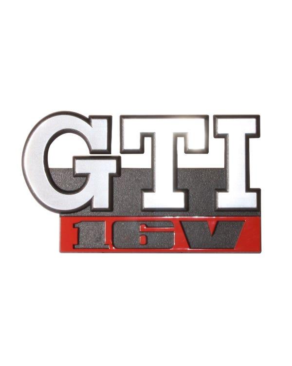 Frontgrillemblem, GTI 16V, Schrift, Text in chrom und rot auf schwarzem Hintergrund