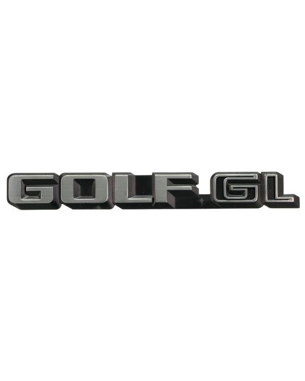 Schriftzug ''Golf GL'', schwarz und chrom
