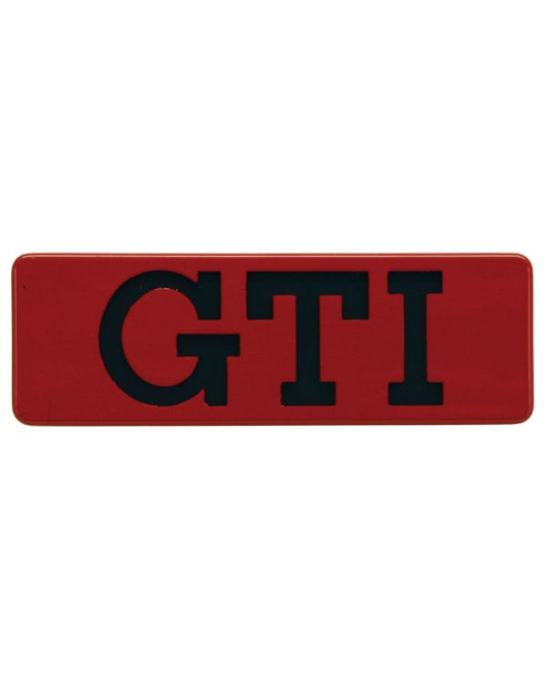 Side Trim Badge - GTI Black Text Red Surround