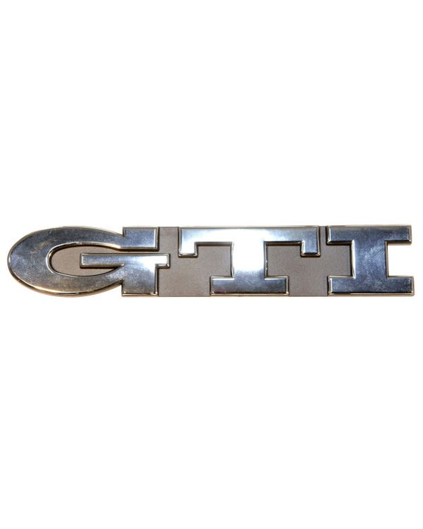 Front Grille Badge - GTI Script Chrome Text on Black Background