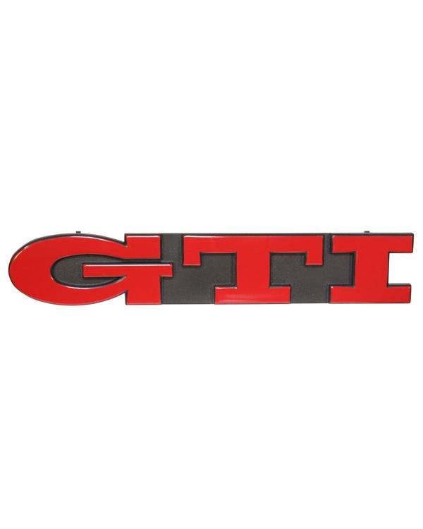 Front Grille Badge - GTI Script Red Text on Black Background