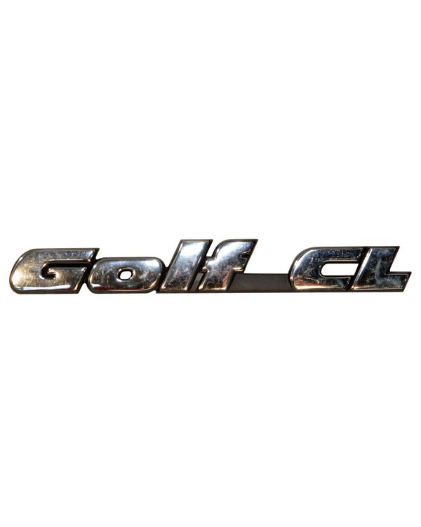Rear Badge - Golf CL Script Chrome Text on Black Background
