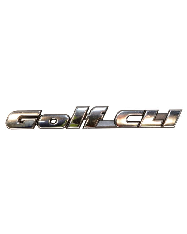 Rear Badge - Golf CLI Script Chrome Text on Black Background