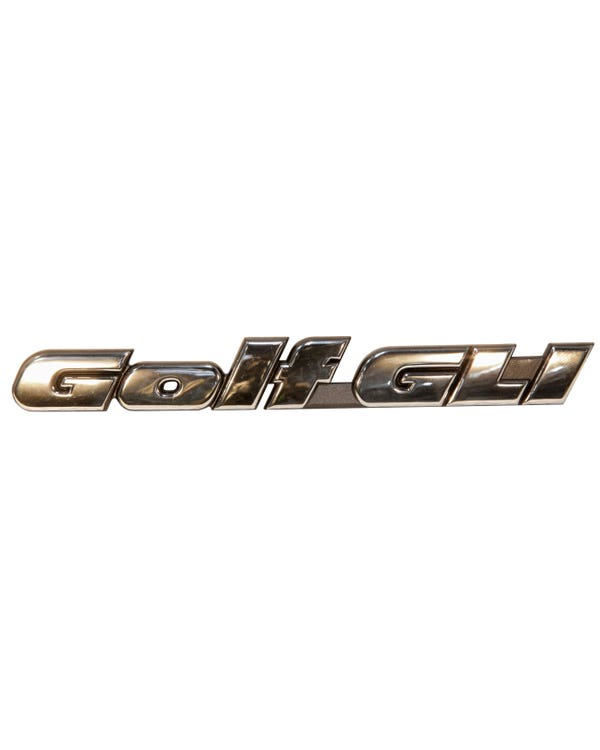 Rear Badge - Golf GLI Script Chrome Text on Black Background