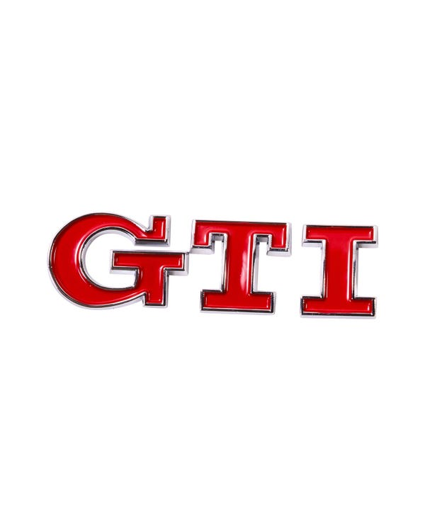 Rear Badge Red GTI Script
