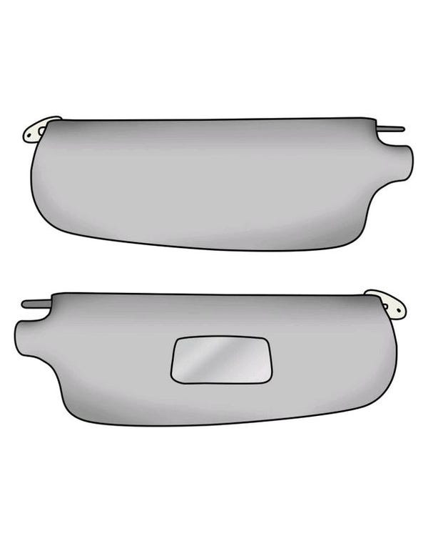 Vinyl Sun Visors with Right Hand Mirror