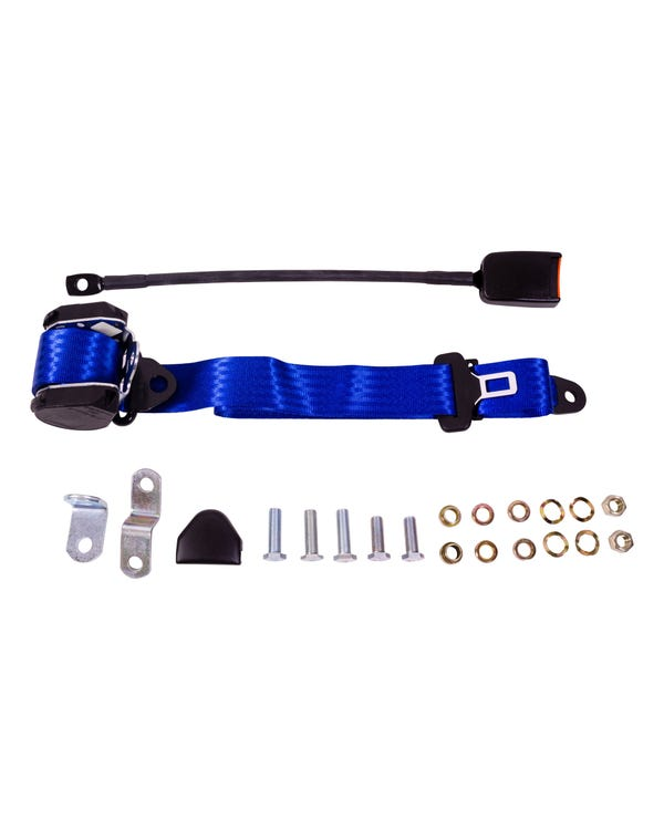 Front Seat Belt 3 Point Inertia with Modern Buckle and Blue Webbing for Walk Through