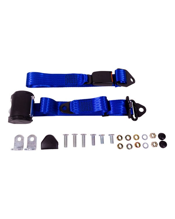 Front Seat Belt 3 Point Inertia with Modern Buckle and Blue Webbing for Bench Seat