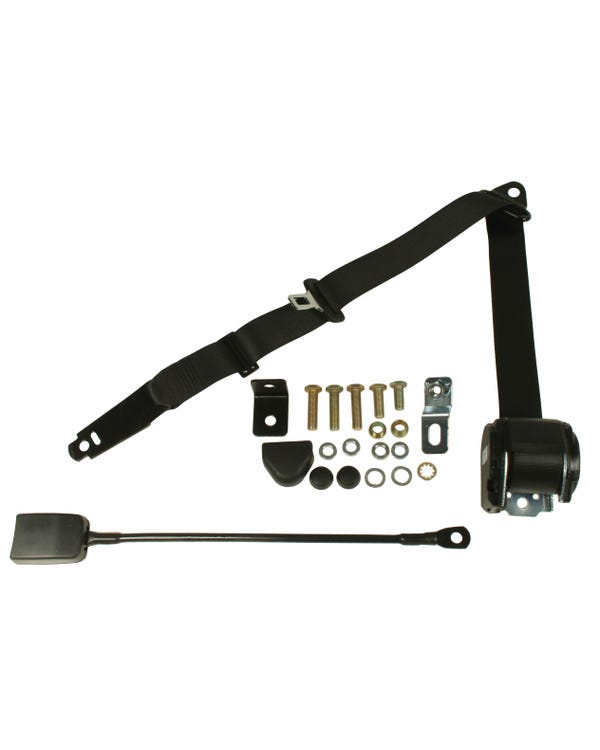 Front Seat Belt 3 Point Inertia with Modern Buckle and Black Webbing for Walk Through