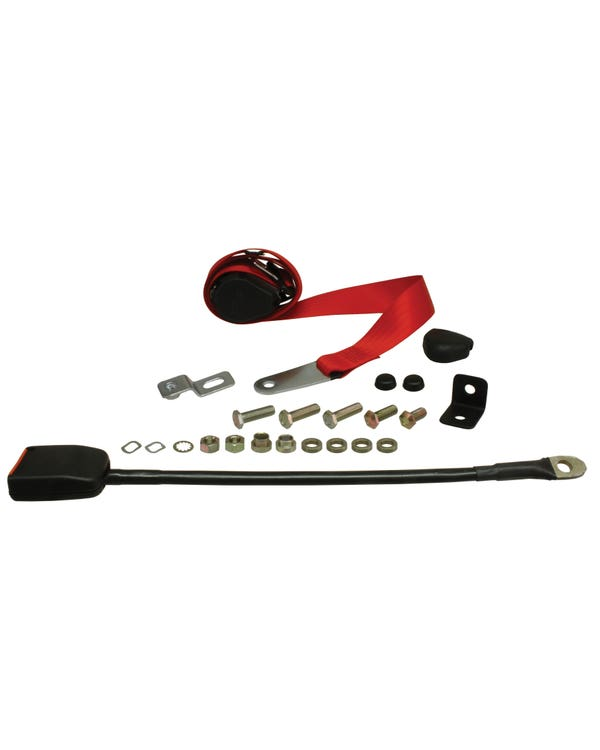 Front Seat Belt 3 Point Inertia with Modern Buckle and Red Webbing for Walk Through