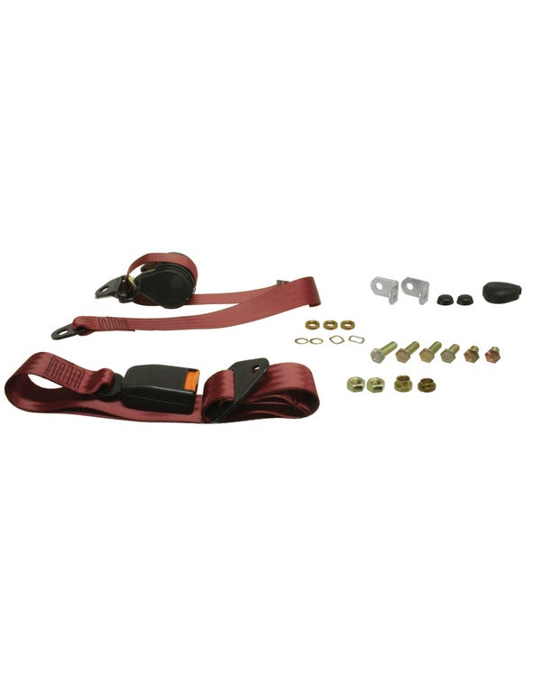 Front Seat Belt 3 Point Inertia with Modern Buckle and Burgundy Webbing for Bench Seat