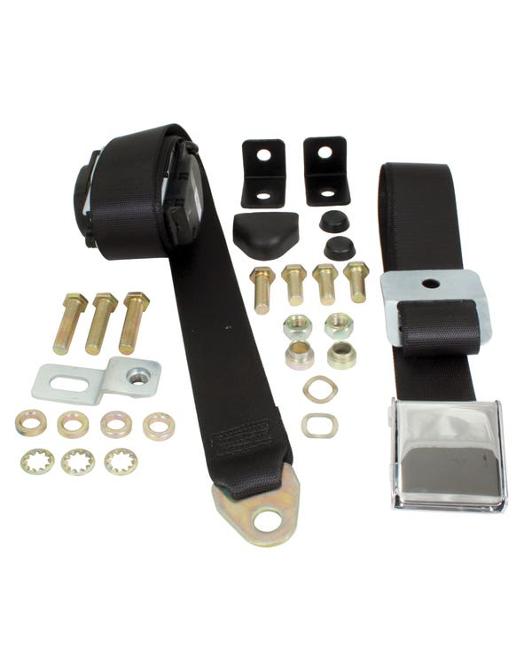 Front Seat Belt 3 Point Inertia with Chrome Buckle and Black Webbing for Bench Seat