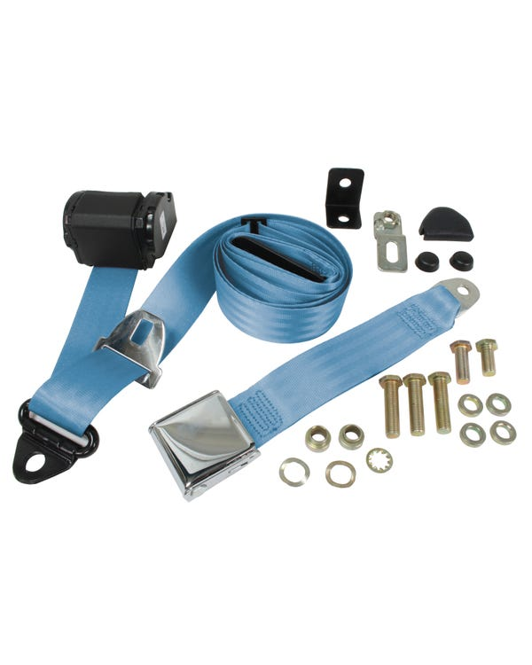Front Seat Belt 3 Point Inertia with Chrome Buckle and Blue Webbing for Bench Seat