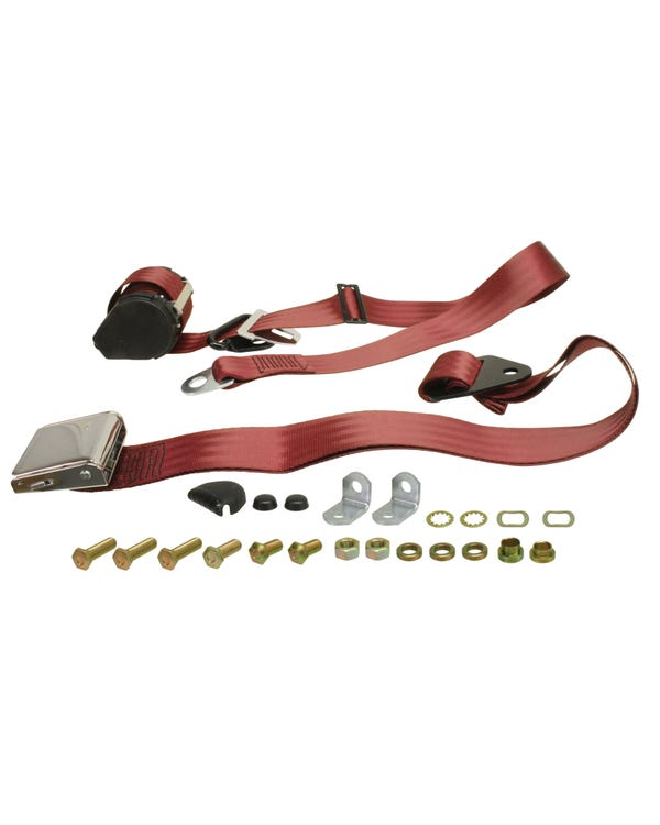 Front Seat Belt 3 Point Inertia with Chrome Buckle and Burgundy Webbing for Bench Seat