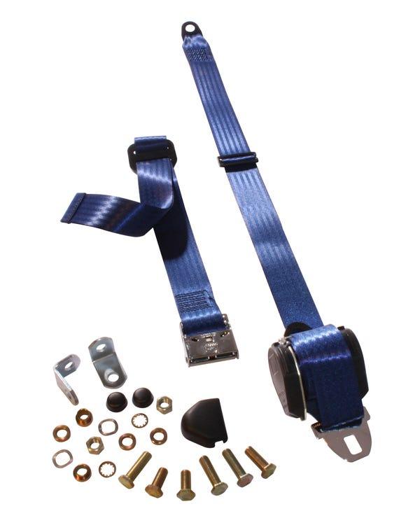 Dreipunkt-Automatikgurt, Vordersitz, mit Chrom-Schnalle und dunkelblauem Gewebe für Sitzbank