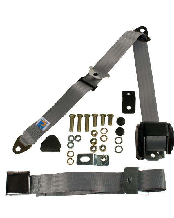 Front Seat Belt 3 Point Inertia with Chrome Buckle and Grey Webbing for Bench Seat