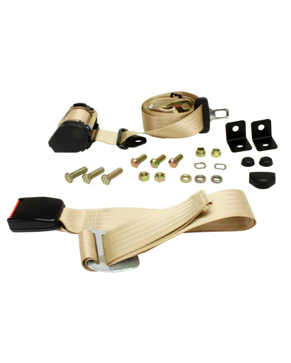 Front Seat Belt 3 Point Inertia with Modern Buckle and Cream Webbing for Bench Seat
