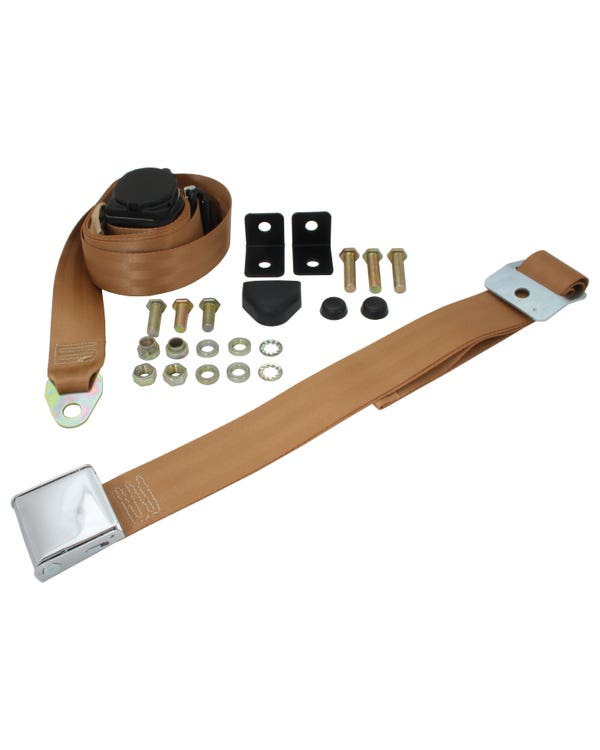 Front Seat Belt 3 Point Inertia with Chrome Buckle and Tan Webbing for Bench Seat