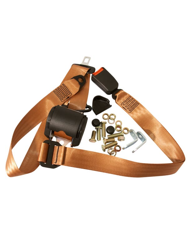 Front Seat Belt 3 Point Inertia with Modern Buckle and Tan Webbing for Bench Seat