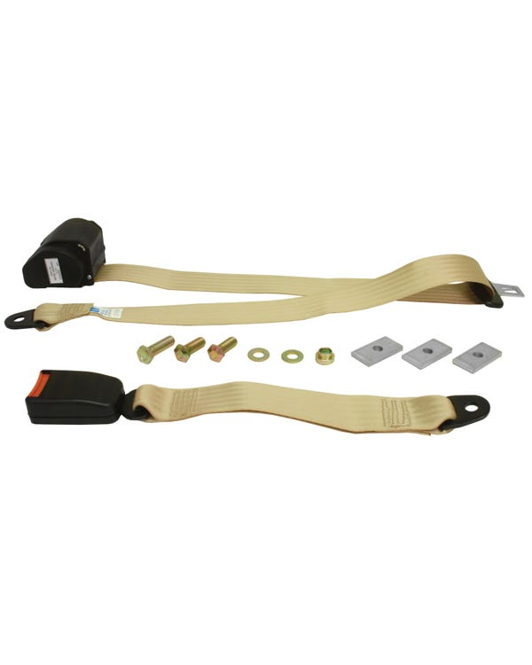 Rear Seat Belt 3 Point Inertia with Modern Buckle and Cream Webbing