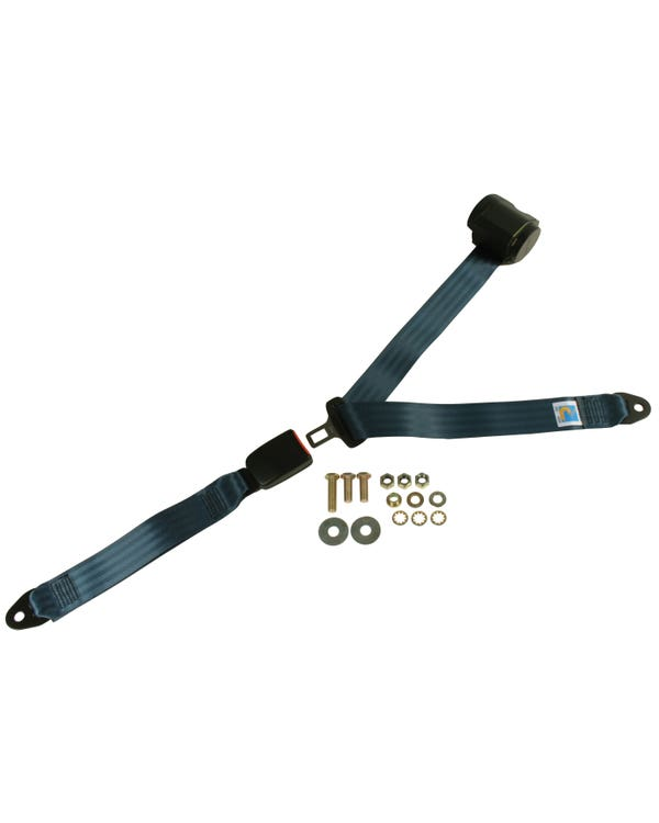 Rear Seat Belt 3 Point Inertia with Modern Buckle and Dark Blue Webbing