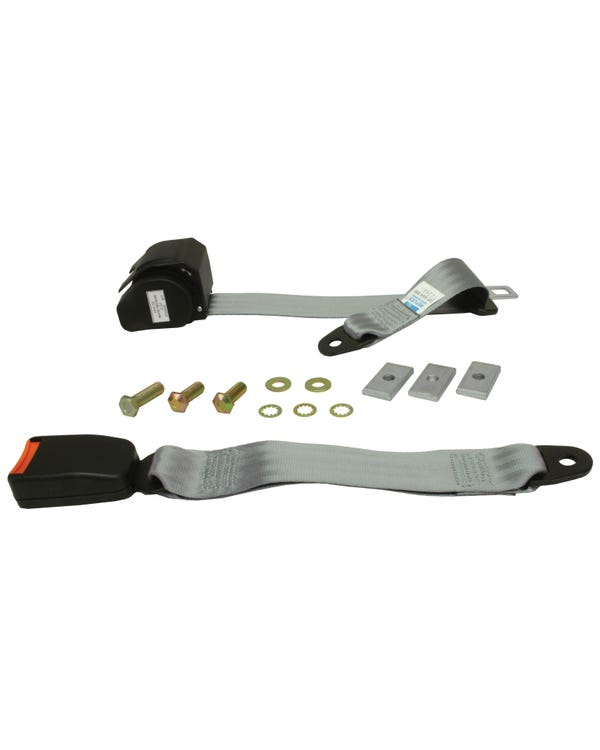 Rear Seat Belt 3 Point Inertia with Modern Buckle and Grey Webbing