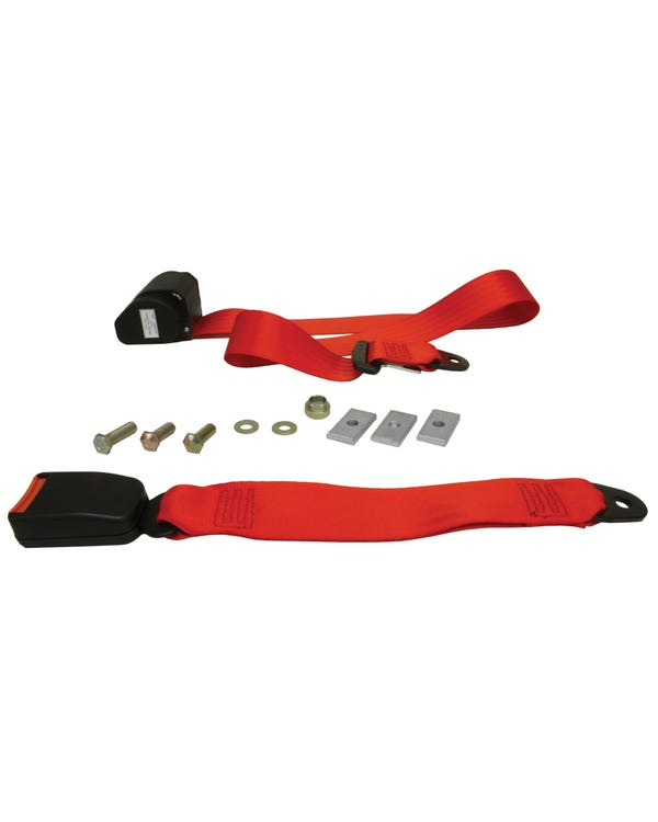 Rear Seat Belt 3 Point Inertia with Modern Buckle and Red Webbing