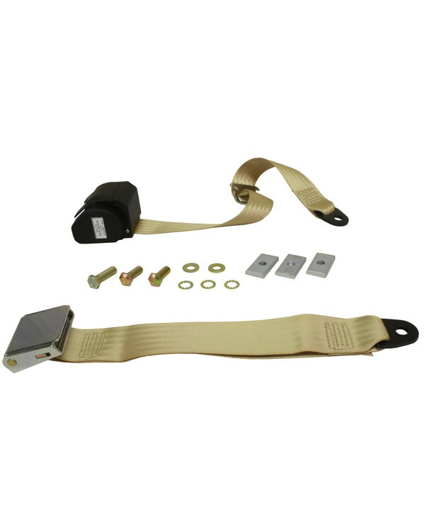 Rear Seat Belt 3 Point Inertia with Chrome Buckle and Cream Webbing