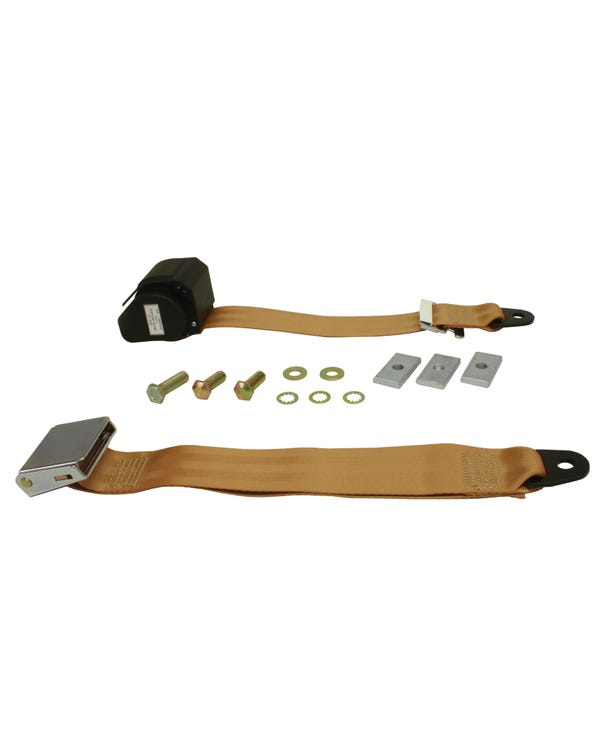 Rear Seat Belt 3 Point Inertia with Chrome Buckle and Tan Webbing