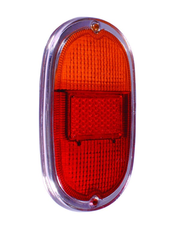 Rear Light Lens, Amber and Red with Silver Trim