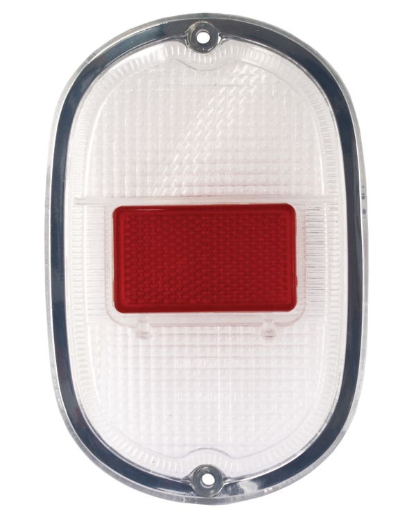 Rear Light Lens, Clear and Red with Silver Trim, Each