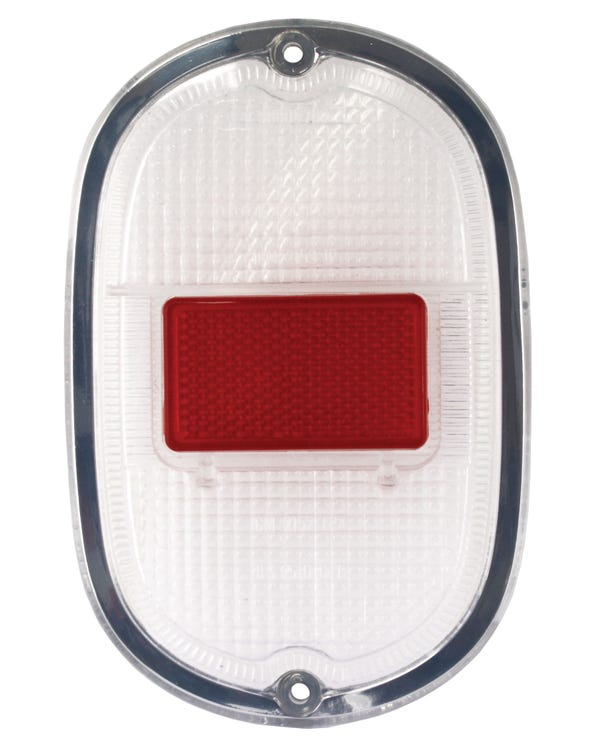 Rear Light Lens in Clear and Red with Silver Trim