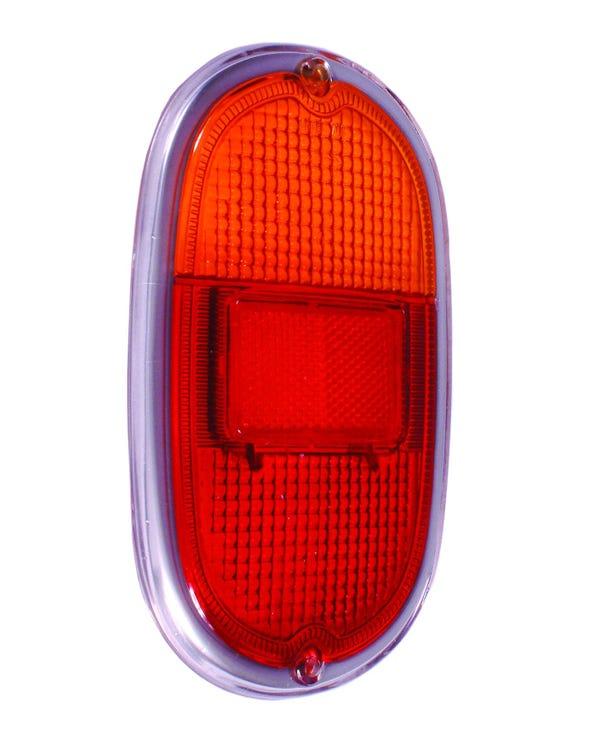 Rücklichtstreuscheiben, orange und rot, mit silbernem Rahmen