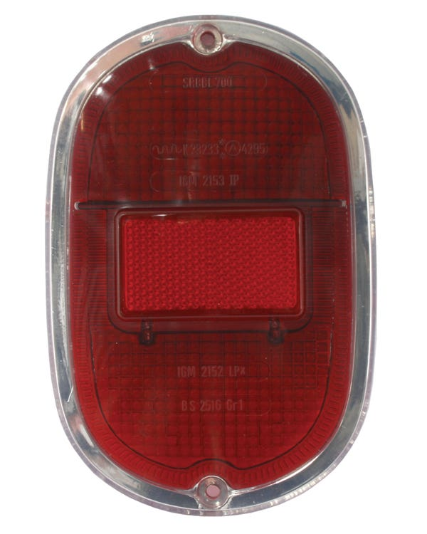 Rear Light Lens, All Red with Silver Trim, Each