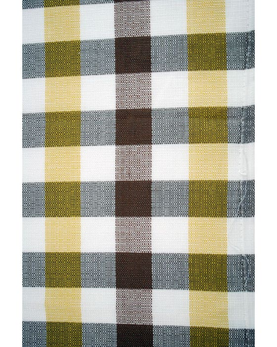 Curtain Cloth Westfalia White Brown & Yellow Chequered Per Meter