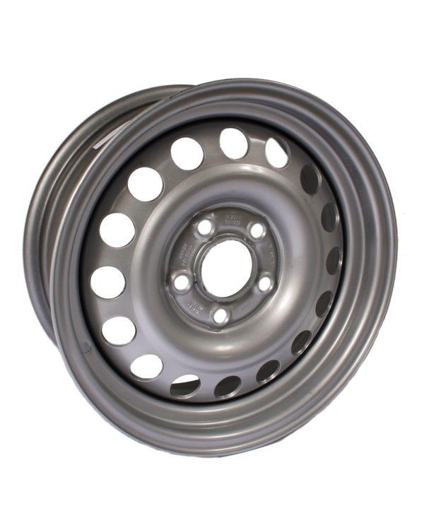 Silver Steel Wheel 6x15'', 5/112 PCD, ET30