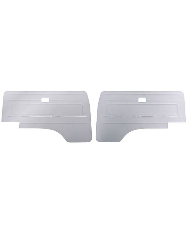 Cab Door Panels with OE Trim in Grey Vinyl with Bluestar Velour Insert LHD with Electric Windows, Pair