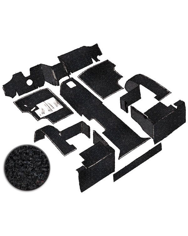 Carpet Set for Left Hand Drive Black Petrol