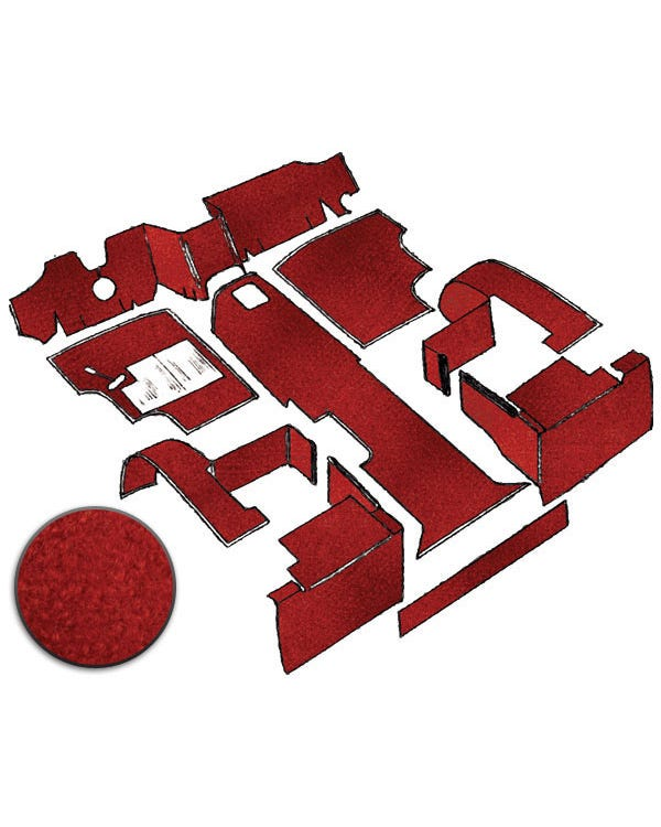 Carpet Set for Left Hand Drive Red gas