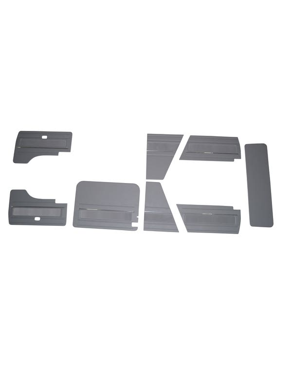 8 Piece Interior Panel Kit with Velour Insert and Chrome Strips for Left Hand Drive Westfalia with Electric Windows