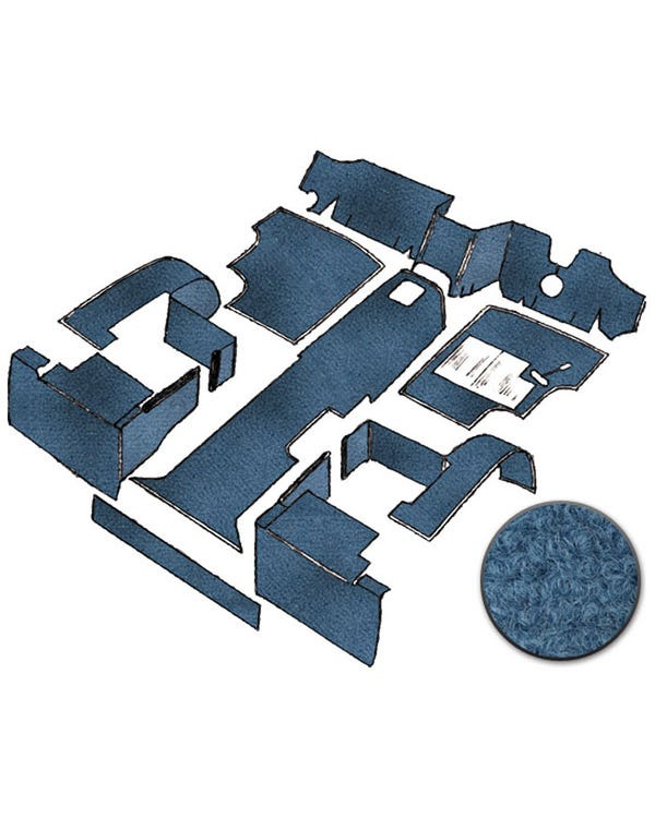 Carpet Set for Right Hand Drive Blue gas Air Cooled