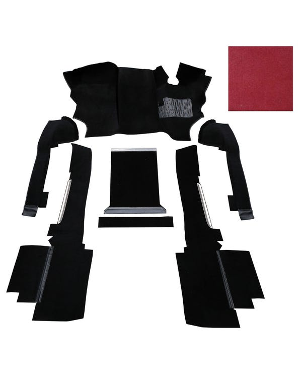OE Spec Carpet Set in Red Nylon for Right Hand Drive Turbo Diesel