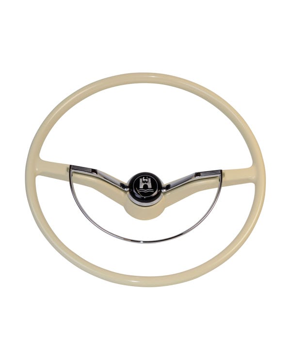 SSP Steering Wheel with Horn Push and D-Ring Ivory Coloured