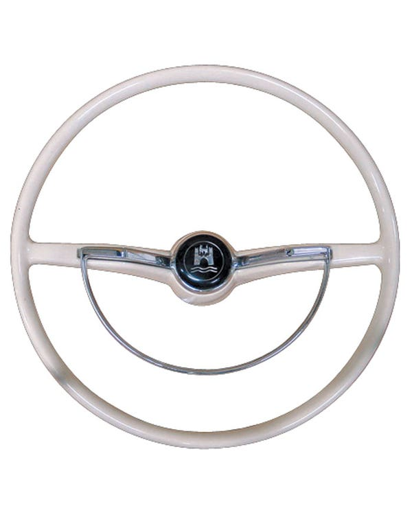 Steering Wheel with Horn Push and D-Ring Silver Beige