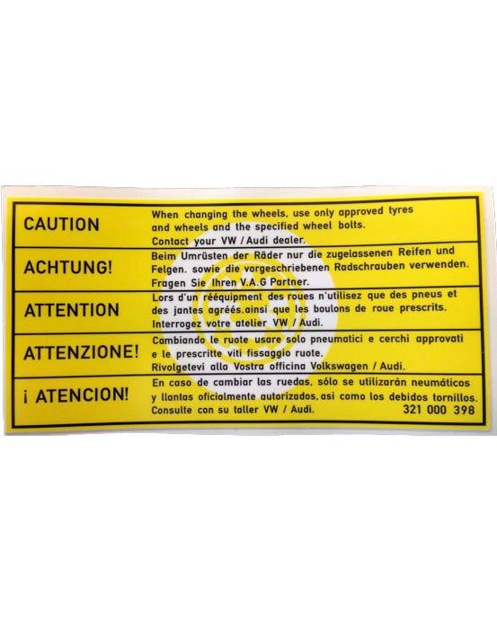 Sticker Caution When Changing Wheels