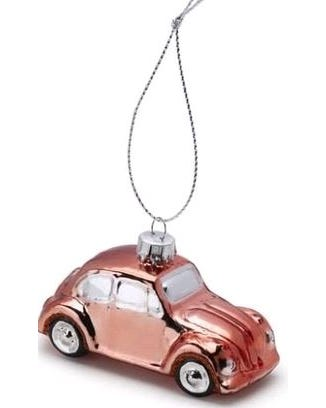 Christmas Tree Decoration Rose Gold VW Beetle