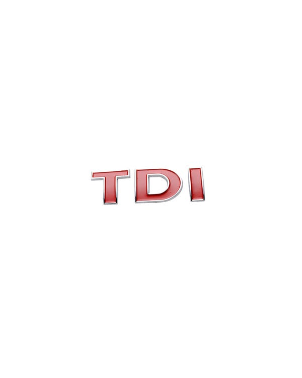 Rear TDI Badge in Red and Chrome