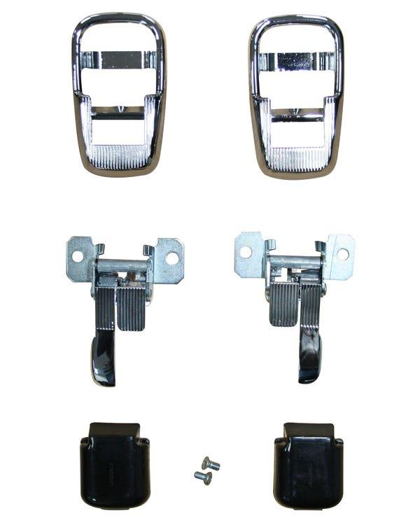 Interior Locking Door Handle Complete Set with Chrome Surround