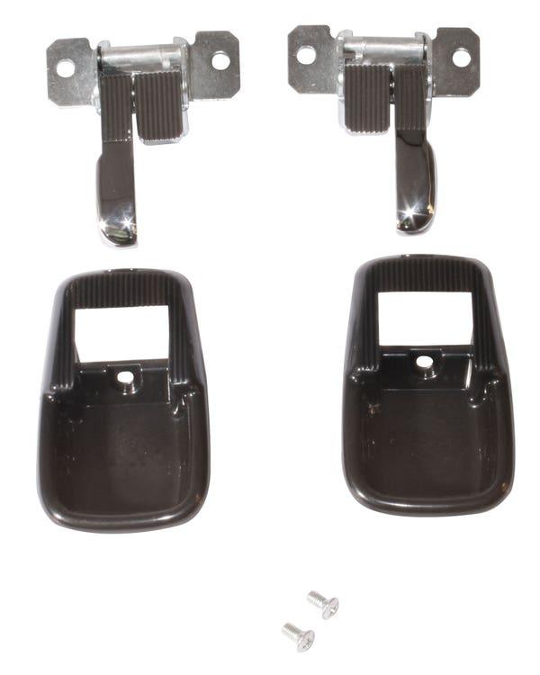 Interior Locking Door Handle Complete Set with Black Surround