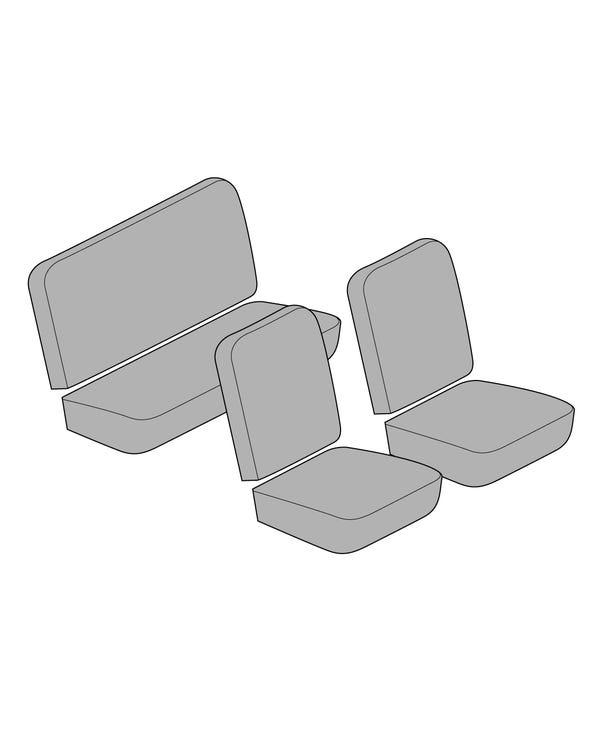 Einfarbiger, vollständiger Sitzbezugsatz für niedrige Rückenlehne mit Korbmuster